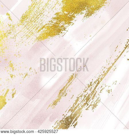 Pink Diagonal Print , Blush Pink Background Onyx Crystal Marble Texture With Golden Ink Colors, Abst