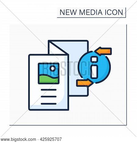 Brochure Color Icon. Informative Paper Document. Booklet With Pictures, Information About Product Or