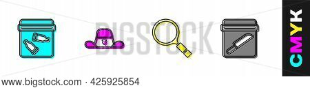 Set Evidence Bag With Bullet, Sheriff Hat Badge, Magnifying Glass Search And Knife Icon. Vector