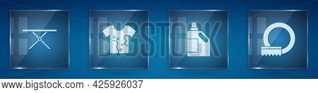 Set Ironing Board, Dirty T-shirt, Bottle For Cleaning Agent And Washing Dishes. Square Glass Panels.