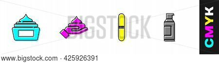 Set Cream Or Lotion Cosmetic Tube, , Nail File And Spray Can For Hairspray Icon. Vector