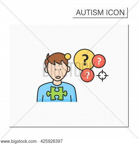 Neurodevelopmental Disorder Color Icon.intense Focus On One Topic. Preoccupation With A Specific Top