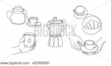 One Line Coffee. Continuous Line Teapot With Cup Of Tea, Monoline Coffee Gear And Hands Holding Cups