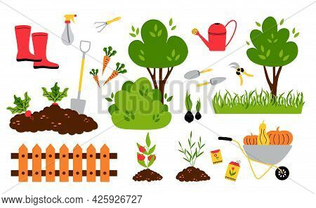Garden Inventory. Cartoon Seeds Plans Seedlings Bushes And Trees, Garden Tools For Ground And Soil W