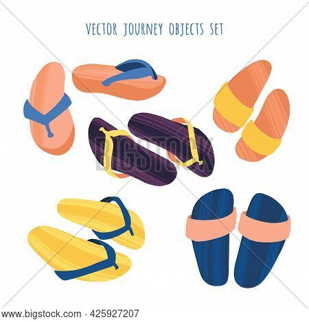 Several Flip Flops In Trendy Flat Style With Dry Brush Texture.
