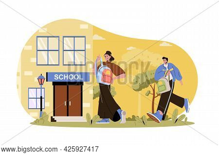 Children Go To School Web Character Concept. Pupils With Schoolbags Go To Lessons. Teenage Classmate