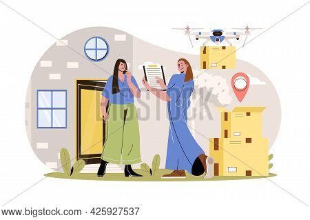 Delivery Service Web Character Concept. Woman Courier Delivers Parcels To Client At Home, Drone Flie