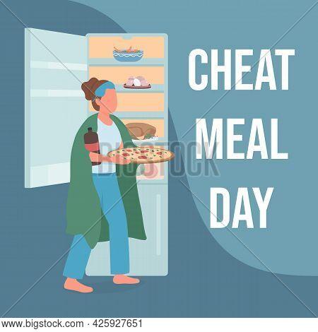 Night Eating Social Media Post Mockup. Cheat Meal Day Phrase. Breaking Diet. Web Banner Design Templ
