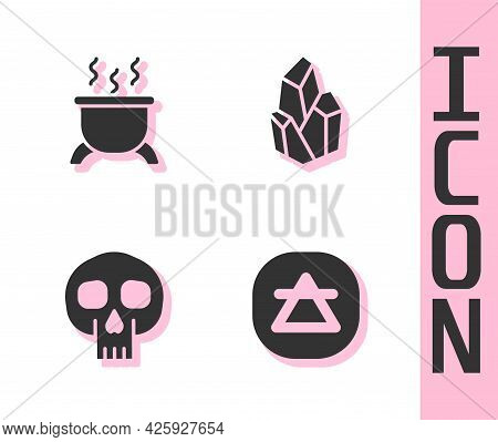 Set Air Element, Witch Cauldron, Skull And Magic Stone Icon. Vector