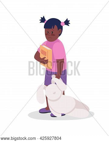 Upset Little Girl Semi Flat Color Vector Character. Sad Kid. Standing Figure. Full Body Person On Wh