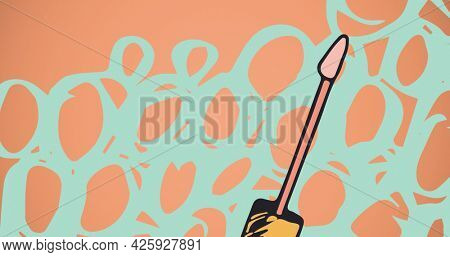 Composition of mascara with colourful shapes on red background. fashion and beauty accessories background pattern concept digital image.