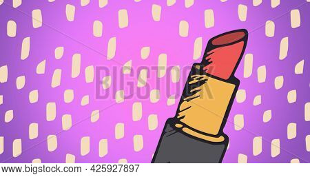 Composition of lipstick with shapes repeated on pink background. fashion and accessories background pattern concept digital image.