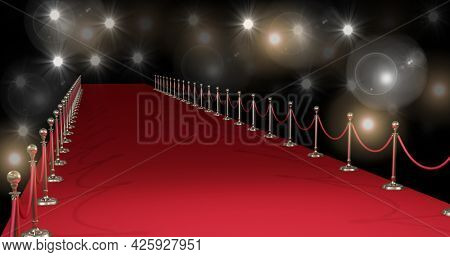 Composition of red carpet at fashion show, on black background. fashion design, fashion show and clothing concept digital image.