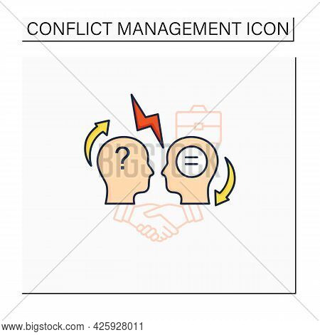 Conflict Resolution Color Icon.conflict Between Two Persons.peaceful Solution To Disagreement.resolv