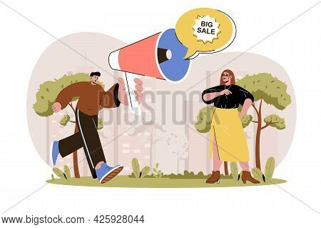 Promotion Web Character Concept. Man With Loudspeaker Advertises Big Sale And Attracting Woman Custo