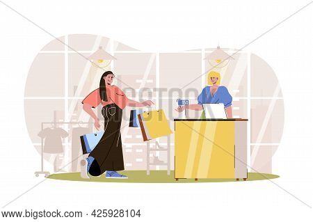 Shopping Web Character Concept. Woman With Bags Pays For Her Purchases At Checkout. Customer Buys Cl