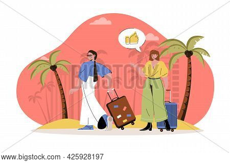 Summer Vacation Web Character Concept. Women With Suitcases Went On Trip, Summer Trip To Seaside Tro