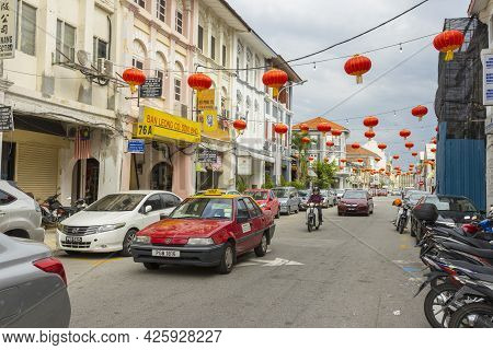 Penang, Malaysia - February 15,2019 : Street View Of Georgetown In Penang, Malaysia On February 15,2