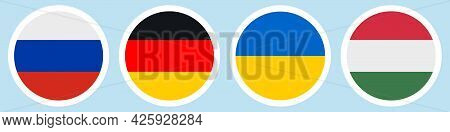 Flags Of Countries. Russia, Germany, Ukraine, Hungary. Collection Of Stickers On A White Backing. Ho