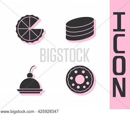 Set Donut, Homemade Pie, Cherry Cheesecake And Brownie Chocolate Icon. Vector