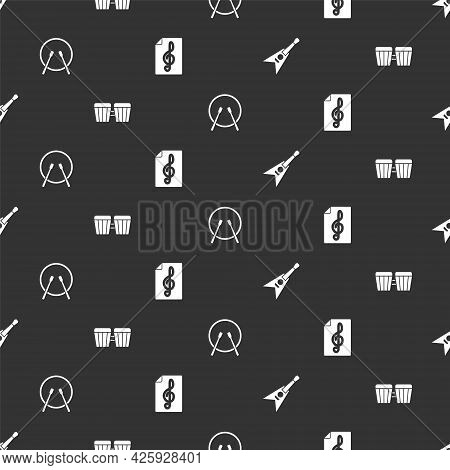 Set Electric Bass Guitar, Drum, And Drum Sticks And Treble Clef On Seamless Pattern. Vector