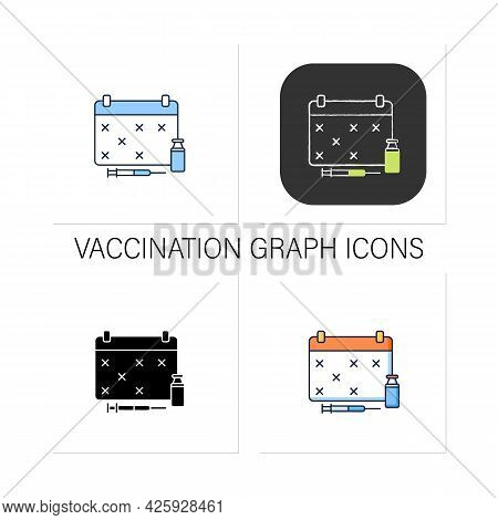 Schedule Icons Set. Vaccination Graph. Cosmetic Injection Schedule. Beauty Cosmetic Procedure Concep