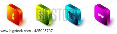 Set Isometric Sport Bottle With Water, Bicycle Wheel, Cycling T-shirt And Cycling Sunglasses Icon. V