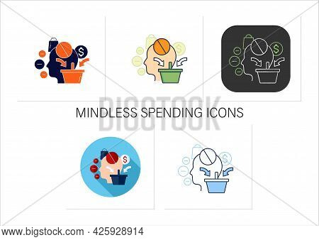 Mindless Spending Icons Set. Rash Spending Money.unplanned Purchase. Mindful Spending Concept. Colle