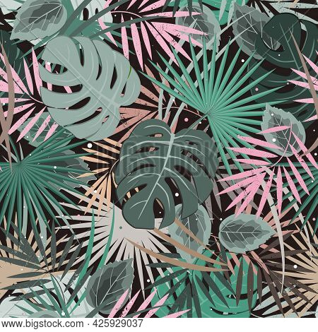 Exotic Leaves, Rainforest Seamless Pattern. Tropical Paradise. Vector Background