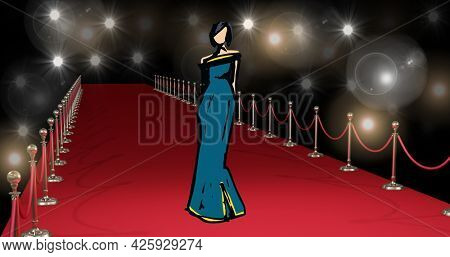 Composition of fashion drawing of model on red carpet at fashion show, on black background. fashion design, fashion show and clothing concept digital image.