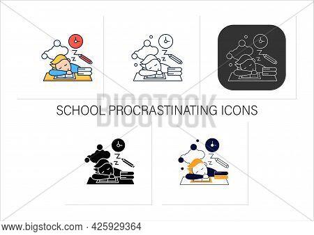 School Procrastinating Icons Set.unnecessarily Postpone Dealing Tasks. Sleep At Lesson. Tired Person