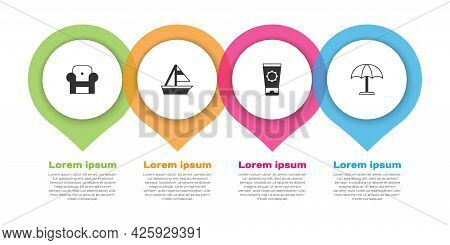 Set Armchair, Yacht Sailboat, Sunscreen Cream In Tube And Protective Umbrella. Business Infographic