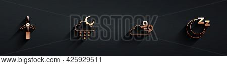 Set Wind Turbine, Cloud With Rain And Moon, Windy Weather And Time To Sleep Icon With Long Shadow. V
