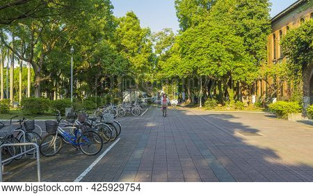 Taipei, Taiwan - Aug 8, 2018 : Street View Of National Taiwan University At Twilight Time In Taipei,