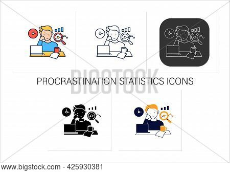 Procrastination Statistics Icons Set.unhappy Statistic.tired Person At Workplace. Dont Want Working.