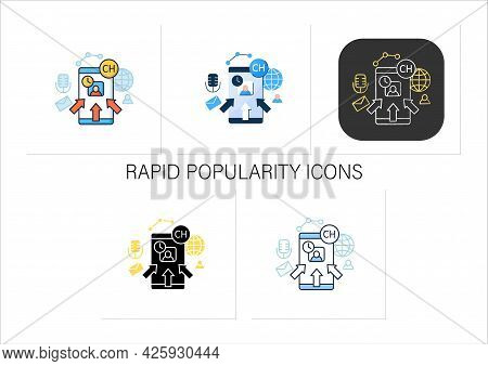 Rapid Popularity Icons Set. Rapid Growth User Popularity.arrows Point To Moderator. Communication Co