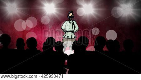 Composition of fashion drawing of model on catwalk at fashion show, on red background. fashion design, fashion show and clothing concept digital image.