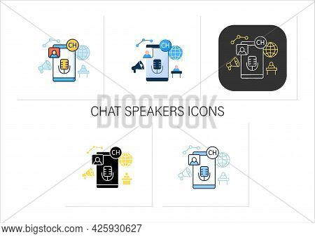 Chat Speakers Icons Set. Main Speaker. Administrator. Free Microphone. Abstract Communication Room W