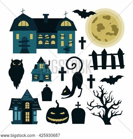 Halloween Set Of Elements Isolated On White Background. Vector Illustration Of Mysterious Houses, Mo
