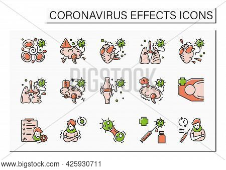 Corona Virus Effects Color Icon Set. Covid Long Term System Health Damage. Heart, Lung, Brain Damage