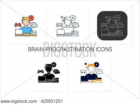 Brain Procrastination Icons Set.tired Person. Need Breaks.too Many Tasks. Overload Concept. Collecti