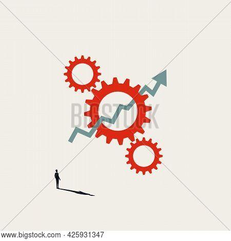 Business Process Automation Benefits Vector Concept. Technology Progress Symbol, Save Time, Money. M