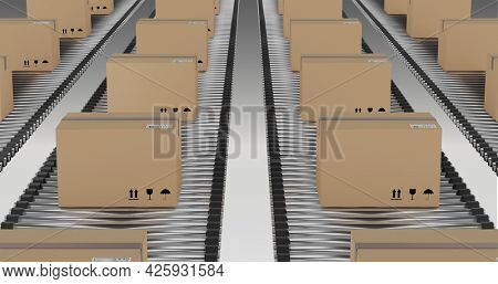 Rows of cardboard packing boxes moving on conveyor belts. mass shipment transportation concept, digitally generated image.