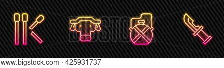 Set Line Canteen Water Bottle, Matches, African Buffalo Head And Hunter Knife. Glowing Neon Icon. Ve