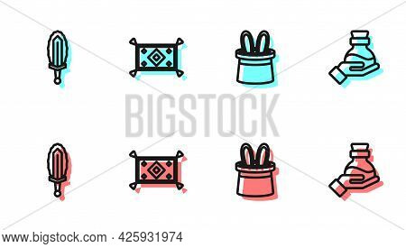Set Line Magician Hat And Rabbit Ears, Sword In Fire, Carpet And Bottle With Potion Icon. Vector