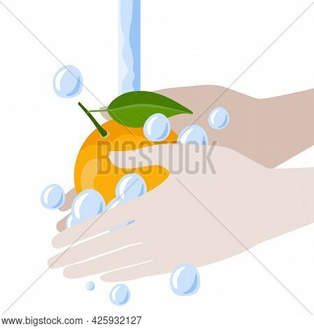 Hands Wash Orange Fruit With Water And Soap Vector Isolated On White Background. Food Hygiene. Need