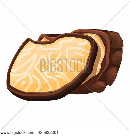 Cutted Slices Truffle Icon Cartoon Vector. Mushroom Fungus. Cooking Truffle