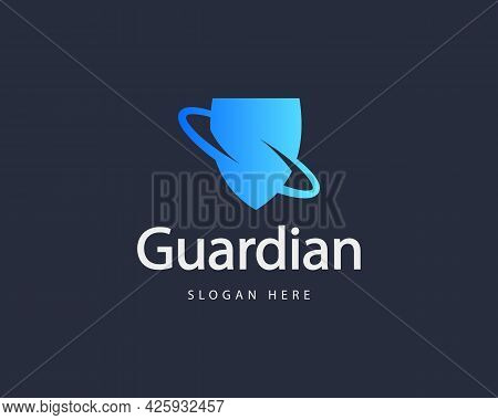 Abstract Spin Shield Colorful Gradient Logo Design Template. Minimalistic Protection, Guard Vector S