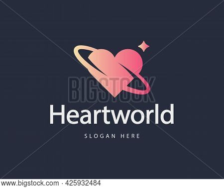 Abstract Spin Heart, Love Colorful Gradient Logo Design Template. Minimalistic Cardiology, Wedding,