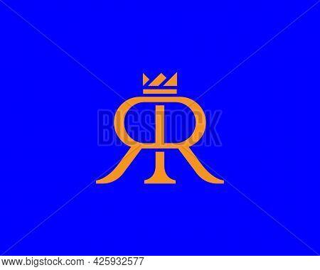 Double R With Crown Vector Logo Design. Elegant Minimal Letter, Monogram, Initials, Wedding Symbol S